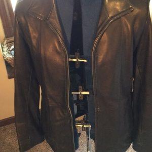 Buttery soft black leather zipper jacket